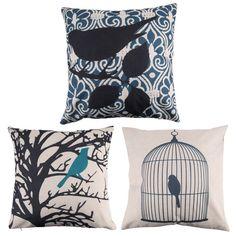 Creative Bird Pattern Pillow Cover; Cotton/Linen