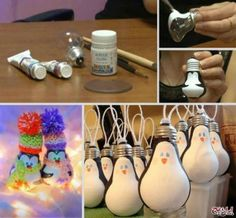 13 DIY Interesting And Useful Ideas For Your Home - Light Bulb Penguin Ornaments