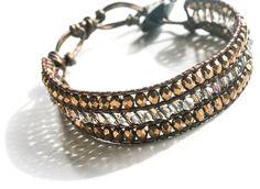 Bronze Crystals Leather Wrap Bracelet by LibertyOriginals