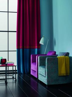 There is a cool new way to work high shine curtains. Colour block them as this future Folklore collection by German fabric house by Sahco (sahco.com) demonstrates. Suri is the range of fabrics on the drapes, €108.50 per metre, which contrasts with the textured Bahia velvets, €201 per metre, on the club chairs. See the full selection at Dún Laoghaire-based Brian S Nolan. briansnolan.ie