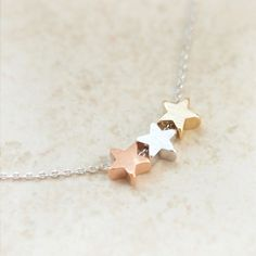 TriColor stars necklace by laonato on Etsy, $17.00