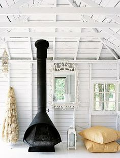 The Country House Collection offers high quality burlap and wood inspirational home decorations. Each uniquely designed decoration brings joy and peace to your home. Black Fireplace, Stove Fireplace, Cottage Fireplace, Fireplace Mirror, Beach House Tour, Estilo Interior, Sweet Home, Wood Burner, Hearth