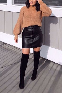 Work It Girl Simple fashionable stylish chic camel sweater oversized for women this fall or ration fashionable trendy black leather bag hip skirt .Cool fashion black street style over the knee high heels boots ootd . Simple Fall Outfits, Winter Fashion Outfits, Fall Winter Outfits, Look Fashion, Autumn Fashion, Womens Fashion, Fashion Black, Winter Boots, Skirt Outfits For Winter