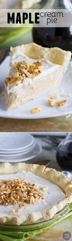 A creamy maple filling is topped with whipped cream and sugared almonds in this…