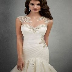 2015-Sexy-Mermaid-Wedding-Dress-Beaded-See-Through-Back-and-Neck-Bride-Gown-Pleat-O-Neck-Organza-Cap-Sleeve-Vestido-dr-noiva-0