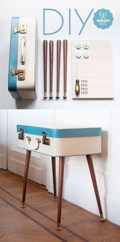 decorar con maletas y reciclar en mesa auxiliar