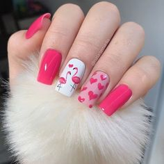 Amazingly Cute Valentine's Day Nail Art Ideas- Bliss Degree - - Valentine's Day is right around the corner and getting your nails done is just part of the fun. Here are 32 Amazingly Cute Valentine's Day Nail Art Ideas for Your Romantic Day. Stylish Nails, Trendy Nails, Cute Nails, Milky Nails, Flamingo Nails, Nail Design Spring, Valentine's Day Nail Designs, Cute Nail Art Designs, Pedicure Designs