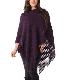 Another great find on #zulily! Purple Fringe Poncho - Plus by Diva Designs #zulilyfinds