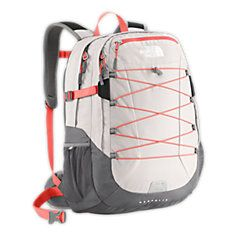 A north face backpack ,grey part, pink lace , white altogether