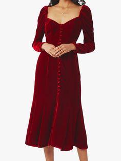 Ghost Sydney Silk Velvet Dress, Dark Red at John Lewis & Partners