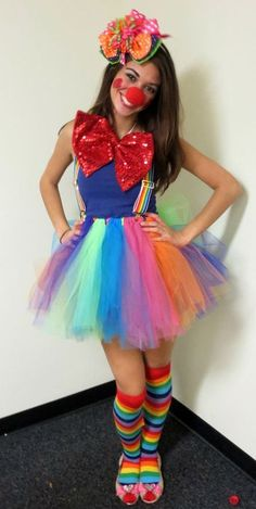 Teen girl disguised as a clown.  See more fun Halloween costumes and party ideas at one-stop-party-ideas.com