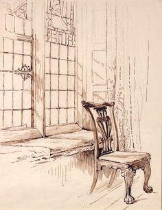 Sketch of a chair and window, Melford Hall by Beatrix Potter