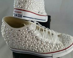 Bridal Converse Wedding Converse Bling & Pearls by DivineUnlimited