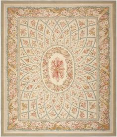 Modern Aubusson Rug 44690 Detail/Large View - By Nazmiyal