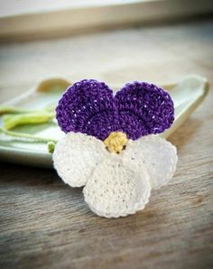 Handmade Crochet Bookmark Violet Pansy Flower