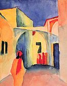 """August Macke, German painter who was a leader of Der Blaue Reiter (""""The Blue Rider""""), an influential group of Expressionist artists. Macke studied at the Düsseldorf Academy from August Macke, Wassily Kandinsky, Cavalier Bleu, Franz Marc, Poster Prints, Art Prints, Art Moderne, Art Plastique, Stretched Canvas Prints"""