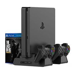 Kootek Vertical Stand for Slim / Pro / Regular Controller Charger with 3 Cooling Fan Games Storage, EXT Dual Charging Station for PlayStation 4 Console Dualshock 4 Controller Accessories – Best Product Deal Playstation 4 Console, Playstation 5, Ps2 Slim, Chargers Game, Xbox, Hub Usb, New Ps4, Gaming Station, Docking Station