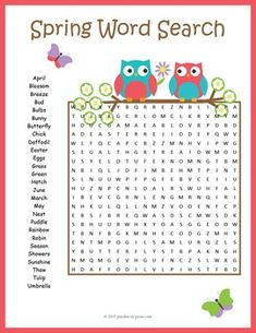 Spring Word Search:Revel in the joy of springtime with a sweet little word search. Puzzlers will have to look in all directions for the 27 vocabulary words, including diagonally and backwards. Some of the words overlap which makes the puzzle a little more challenging.