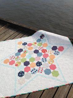 Lone star quilt with hexagons, modern patchwork quilt, scrap quilt