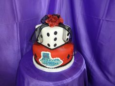 Yet another Las Vegas Wedding Cake, done with red rolled fondant and a huge dice.
