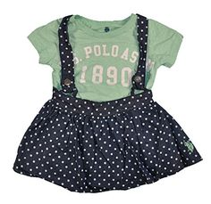 US Polo Assn baby Girls SS Top 2pc Polka Dot Chambray Skort Set 36M Aqua >>> Check out the image by visiting the link.