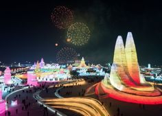 Towering ice palaces at China's Harbin Ice Festival - BBC News World Festival, Festival Image, Harbin, Escala Natural, Snow Sculptures, Metal Sculptures, Bronze Sculpture, Wood Sculpture, Chinese Festival