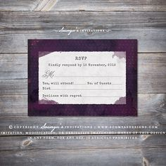 Watercolor Wedding RSVP, Vintage Typewriter Wedding RSVP, Rustic Barn Wedding RSVP by Soumya's Invitations