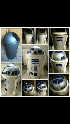 Poubelle recyclée en robot star wars déco DIY - Star Wars Canvas Art - Ideas of Star Wars Canvas Art - Decoration Star Wars, Star Wars Christmas Decorations, Star Wars Room Decor, Game Room Decor, Room Decorations, Christmas Trees, Star Wars Zimmer, Star Wars Bathroom, Star Wars Crafts
