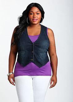 Ashley Stewart: V-Neck Denim Vest..i need this like today!