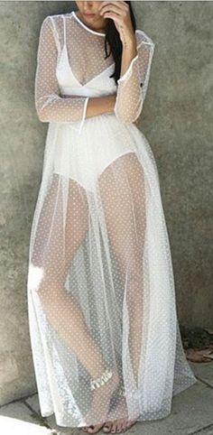 polka dot mesh dress