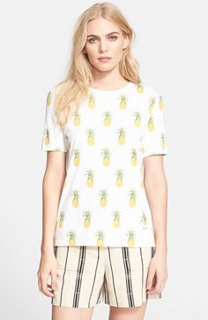 Free shipping and returns on Tory Burch 'Cathy' Pineapple Print Tee at Nordstrom.com. Tropical pineapples playfully dapple a superfine cotton-jersey tee.