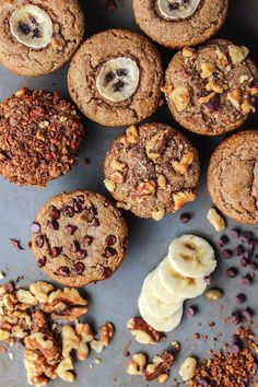 Simple Paleo Banana Muffins using almond flour. Easily customizable: use your favorite add-ins!