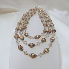 Taupe Triple Strand Renaissance Necklace by tbyrddesigns on Etsy, $69.00