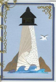 seashore lighthouse More Iris Folding Templates, Iris Paper Folding, Iris Folding Pattern, Origami Folding, Card Templates, Paper Piecing Patterns, Card Patterns, Scrapbook Paper Crafts, Scrapbook Cards