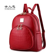 091d16f7e3 NVRENLIAN Woman Backpacks Women s PU Leather Backpack Female Embossed School  Student Bag College Shoulder Bags Laptop