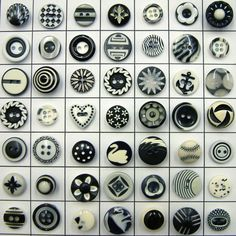 49 Vintage Black & White Plastic Buttons Shown in Grid