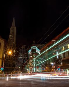 Light trails. Cafe Zoetrope, San Francisco. San Francisco Girls, City Lights At Night, Gas Lights, San Pablo, Light Trails, Northern California, Bay Area, Empire State Building, Tower