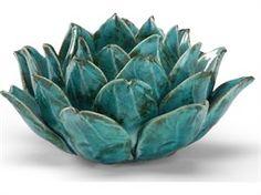 Wildwood Lamps Fired Ceramic Lotus Candleholder