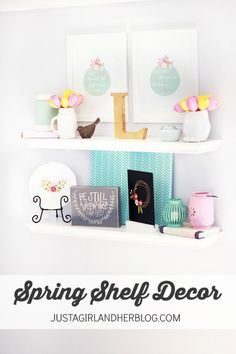 Such a pretty way to style spring shelves! Love the color scheme! | Just a Girl and Her Blog