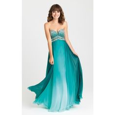Madison James 16374 Prom Long Dress Long Strapless Sleeveless ($350) ❤ liked on Polyvore featuring dresses, gowns, formal dresses, pine green, long formal evening dresses, prom dresses, blue formal gown and green prom dresses