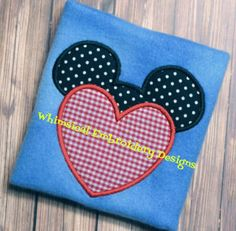 Applique Mouse Heart Embroidery Designs by WhimsicalEmbroidery, $4.00