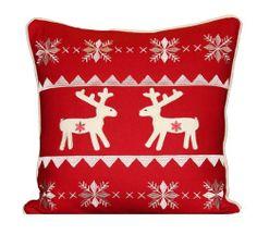 Reindeer Scandinavian Christmas wool cushion cover, 45 x 45cm, by Paoletti