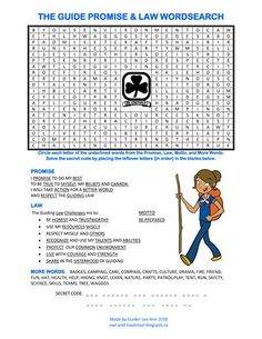 Canadian Girl Guides Promise & Law Wordsearch. http://owl-and-toadstool.blogspot.ca/2012/03/guides-world-guiding-badge.html