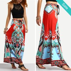 Tribal Print Tied Waist Maxi Skirt -                             Tribal Print Tied Waist Maxi SkirtMaterial: PolyesterDresses Length: Ankle-LengthSilhouette: StraightFabric Type: Broadcloth                          - On Sale for $29.00 (was $32.00)