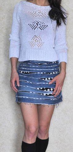"""Юбка из мужских джинсов / Переделка джинсов / """"Вторая улица"""" - мода и интерьер своими руками!"""