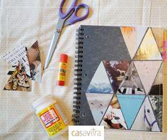 Hora de reformar: personalize as capas dos seus cadernos com revista, jornal ou até mesmo fotos. Seu material vai ficar único e estiloso! #dica