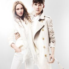 The Burberry Brit White Collection featuring models Sebastian Brice and Camilla Babbington