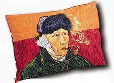 """Pillowcase: Self Portrait With Pipe & Bandage by Boxelder. $22.95. 21"""" x 27"""" (to fit a standard 20"""" x 26"""" pillow). pillow sham with Van Gogh Self Portrait on front. 100% combed cotton of 220 threads per inch. back of sham shows a rear view of Vincent Van Gogh. Two-sided pillow sham for variety. Images adapted from famous works of art are silk screened onto 100% combed 220-thread count cotton pillowcases. Constructed with French seams for durability, with an 8 flap to secure th..."""