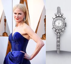 Impecable Nicole Kidman en la gala de los Oscars 2018 con un reloj joya Omega de 1953 #oscars #oscars2018