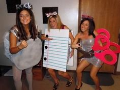 A trio costume: rock, paper and scissors.